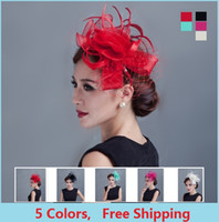 Wholesale Lady Fascinators - Ladies Fancy Races Royal Wedding Hats And Fascinators Feather Hair Accessories Women Party Tocados Sombreros Bodas Sinamay Hats