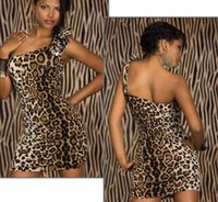 Wholesale leopard cat woman costume for sale - Summer women party dress prom dresses sexy uniform temptation nightclub shoulder leopard cat ladies night show costumes DS show women dress