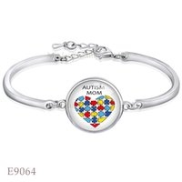 Wholesale Wholesale Autism Awareness Charm Bracelets - Fashion Adjustable Autism Mom Puzzle Pieces Awareness Ribbon Glass Cabochon Silver Finish Open Chain Bangles Bracelet for Women