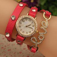 orangenstein armband großhandel-Mode luxus seil frauen uhr damen leder diamant retro kette armband liebe stein quarz kleid armbanduhr mode uhr für frauen