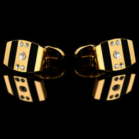 Wholesale Mens Crystal Cufflinks - 2016 French shirts Fashion cufflinks for mens Brand Gold Cuff links Luxury Weddin Buttons High Quality Crystal Gift