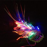 Wholesale Masks Butterflies - LED Butterfly Masks Sequined Party Mask Halloween Led Party Mask Adult Kids Venetian Luminous Fluff Mask Christmas Flash Masquerade Masks