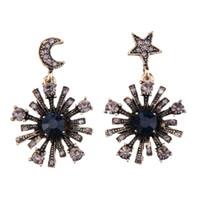 Wholesale Planting Moon Flowers - 2017 Fashion Brand Maxi Dangle Earrings For Women Vintage Rhinestones Star Moon Shaped Drop Earrings Statement asymmetric Jewelry