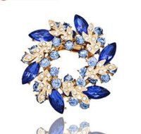 Wholesale Gold Alloy Scarf Charms - Wedding gemstone brooch rhinestone crystal gold alloy flower brooches pins Christmas pins clips dress scarf tie pin women charm jewelry 20pc