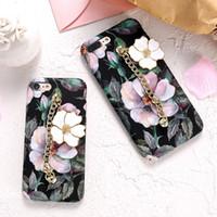Wholesale Chain Protective Covers - Flower Case For iPhone 6 6Plus 7 7 Plus Retro Luminous Handhold Chain Luxury PC Protective Cover Coque Case