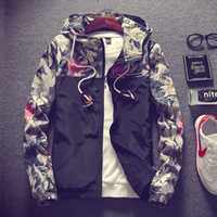 Wholesale Coloured Hoodies - Autumn New Leisure sports Mens Long Sleeve Flower Printed Hooded Hoodie Jacket Coat Outwear 5 Colour 6 Size