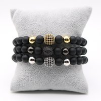 8мм Pave Rose Gold Plated Male Disco Ball Black Cubic Zirconia Charm Bracelet Matte Stone Браслеты из бисера для мужчин