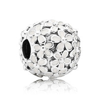 Wholesale Oval White Bead - Authentic 925 Sterling Silver Bead Charm White Enamel Daisy Meadow Clip Stopper Beads Fit Women Pandora Bracelet Bangle Diy Jewelry HK3412