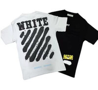 Wholesale China Fashion Shirts - Brand Clothing T Shirt Men Off White China 2017 Spring Summer Classic Letter Basic Stripe Print Cotton T-shirt Tee Men Tshirt