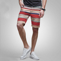 Wholesale Beachwear Strip - Wholesale- Mens Shorts Cotton Stripped Casual Beach Shorts Board Beachwear Big Size Straight Cargo Shorts