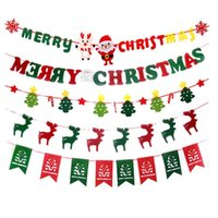 ingrosso alberi decorativi per pareti-Bandiere banner di Natale Albero di Natale Alce Calza da parete Finestra Appende Buon Natale Negozio Decorazioni Bandiera decorativa di Natale