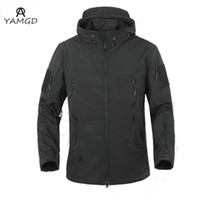 Wholesale Crocodile Jackets - Wholesale- Large size XS-XXXL 2016fashion male Waterproof windproof warm jacket men crocodile Soft shell Slim High-grade lurker hooded coat