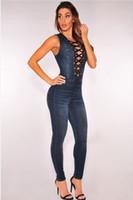 ingrosso tuta sexy lycra-Sexy donna scollo a V Denim Slim donna Jeans senza maniche tuta di jeans pagliaccetto Denim pagliaccetto Jean Tank