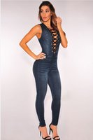 Wholesale Skinny Patterned Ties - Sexy women V Neck Denim Slim Women Jeans Sleeveless Bodysuit Denim Romper Hole Jean Tank Jumpsuit