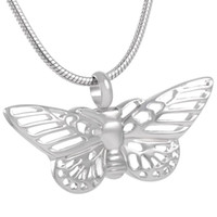 Wholesale Hollow Butterfly Charms - IJD8144 HOLLOW BUTTERFLY Memorial Urn Keepsake Ashes Pendant Women Charm,Wholesale or Retail Stainless Steel Cremation Urn Necklace Female