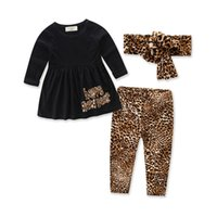 Wholesale Baby Girl Cheetah - Fashion Cheetah Baby Girls Clothes Letter Printed Cool Girls Clothing Set T-Shirt Pants with headband 3pcs Autumn Long Sleeve Kids Clothes