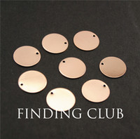 Wholesale Stamp Material - Wholesale-20 pcs rose gold 14mm Blank Stamping Tags Charms for Bracelets electroplating natural material without nickle RS754
