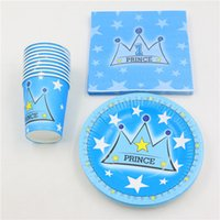 plate prince baby shower decorations kids favors prince cartoon crown theme decoration napkins happy birthday