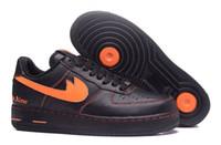 Wholesale Men Casual Shoes Skate - Men Athletic Vlone X Ultra Classics Air 1 Low Skate Shoes,Adult Brand Casual Sneakers Black Orange 39-45