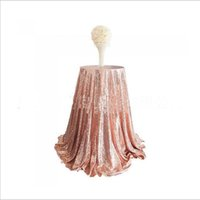 Wholesale Round Sequin Table Cloth - New Bling Rose Gold Sequins Table Cloth Wedding Party Round Wedding Decorations Silver Purple Champagne Pink Red Dress Fabric