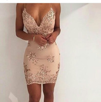 Wholesale Spaghetti V Neck Homecoming Dress - 2017 New Spaghetti Straps Short Cocktail Dresses Sheath Cocktail Party Dresses Custom Made Cheap Summer Homecoming Dresses