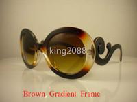 Wholesale Beautiful White Glass - 1Pcs High Quality Men's Women's beautiful Unisex Designer Brown gradient frame Sunglasses Sun Glasses 7Colors To Choose Come box and case.