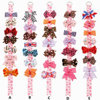 Wholesale Top Clip Handmade - Baby Hair Clips Sets Handmade Ribbon Bows Gift Set Monday to Sunday Toddlers Girls bow tops Birthday Kit Head Accessories