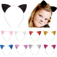 Wholesale Lace Cat Ears - 2016 New Children hair accessories Cat Ears headband girls baby hair band cute kids hair sticks cosplay hoop headdress 9 color