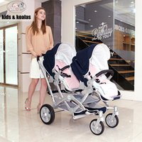 Wholesale Twin Babies Buggies - Luxury Bidirectional Folding Twins Stroller, Double Baby Stroller, Pushchair Pram With Two Seats, By, Baby Carriage