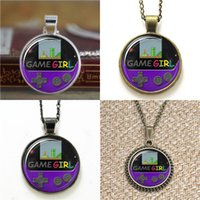 Wholesale Grapes Pendant Necklace - 10pcs GameGirl pendant Gameboy Color Grape purple Glass Photo Cabochon Necklace keyring bookmark cufflink earring bracelet