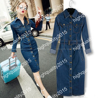 Wholesale Ladies Long Denim Dress - 2017 Vestidos Ladies Casual Slim Denim Long Dress With Belt Sexy Bodycon Dress Oversize Women jeans Maxi Dress