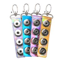 Wholesale Mirror Keys - Strip Mirror Patent Leather Snap button Keychain DIY Noosa 18mm snap Button Key Rings shiny PVC Snap Keyring Accessories Jewelry