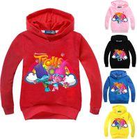 Wholesale Kids Cute Hoodies - Trolls Children hoodies long sleeve spring autumn kids sweatshirts boys girls cartoon cute jumper clothing DHL fast shipping