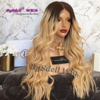 Wholesale Honey Blonde Lace Front Wigs - 9A new Designed top grade quality ombre Dark honey blonde full lace front wigs transparent lace natural hairline lace front wigs for women