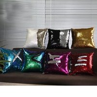 Wholesale Hot saleSequin Pillow Case Sequin Pillowslip Colorful Pillow Cases Reversible Cushion Cover Home Sofa Car Decor Mermaid Pillow Covers