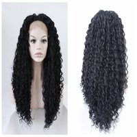 Wholesale Long Curly Heavy Wig - black kinky curly wig Long Cheap synthetic lace front wigs heavy density for black women 16-26 inches in stock