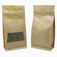 Wholesale kraft paper zipper top bags - 50pcs Lot Stand Up Kraft Paper Zip Lock Self Sealing Packing Pouch For Coffee Food Brown Doypack Zipper Top Package Storage Bag