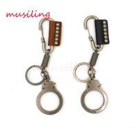 Wholesale Handcuffs Locks - Leather Key Chain Handcuffs Pendant Car Key Rings Material Antique Copper Alloy Personalized Design Vintage European Charm Jewelry