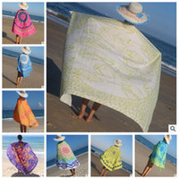 Wholesale Table Mats Design - 53 Designs Table Cloths Round Beach Towel Totem Printed Summer Beach Cover Upr Shawl Blanket Polyester Beach Cover Table Mat CCA5820 50pcs