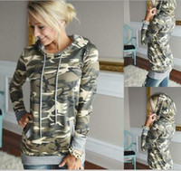 Wholesale Ladies Hooded Military - HOT SALE! Autumn Women Camouflage Hoodies Harajuku Camo Hooded Sweatshirts Military Style Ladies Hoodie with Pocket sudaderas mujer 2017