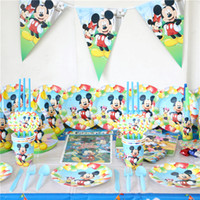 Wholesale Birthday Paper Plates Wholesale - Wholesale- Birthday Party Set Baby Shower Tablecloth Kids Favors Mickey Mouse Paper Napkins Plates Cups Decoration Flag Supplies 163pcs\lot