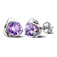 pendientes austriacos al por mayor-Corazón de amatista Pendientes de botón para mujer Joyería de oreja de cristal austriaco 925 Plata esterlina Mujeres Pendientes de botón de boda Púrpura Gota Nave