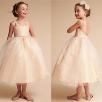 Wholesale Tea Length Sparkle Dress - Sparkling Flower Girl Dresses For Weddings Spaghetti Neckline Applique Sleeveless Knee Length Flower Toddler Wedding Dresses