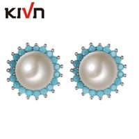 Wholesale Pearl Earring Wedding - KIVN Fashion Jewelry Sunflower Pave CZ Cubic Zirconia Wedding Bridal Pearl stud Earrings for Women 02-21PE269CLRH