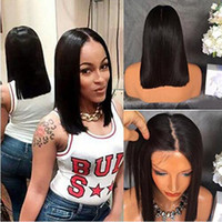 Wholesale Hot Pink Wig Heat Resistant - Hot short wigs heat resistant hair natural black #1b color black natural straight short Bob synthetic lace front wig with babyhair