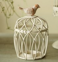 Wholesale Decoration Cage - TP052 White European retro Bird cage candle holder Iron paint Resin home decoration 10x15cm