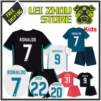 Wholesale Font Blue - boYS 2017 kids Real madrid soccer Jerseys New Font 17 18 RONALDO white Black JAMES BALE RAMOS ISCO MODRIC football shirt Thailand Quality