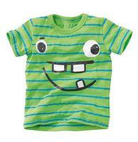 Wholesale Animal Smile - BST15 NEW ARRIVAL Little Maven Boys Kids 100%Cotton Short Sleeve Smile Face Stripped print green T shirt Boys causal summer t shirt
