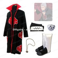 Wholesale Naruto Hidan - Naruto Akatsuki Hidan Cosplay Costume Cloak Headband Necklace Ring Shoes