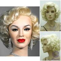 güzel yeni resim toptan satış-100% Yepyeni Yüksek Kalite Moda Resim tam dantel perukMarilyn Monroe Güzel Kısa Sarışın Kıvırcık Peruk Saç Klasik Cosplay Peruk